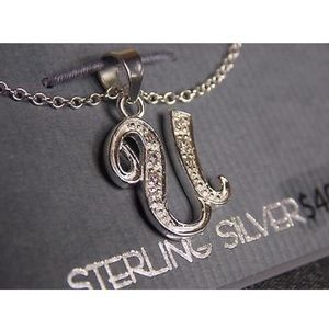 Sterling Silver Letter U Charm Pendent Necklace